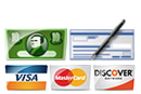 Cash, Checks, Visa, Mastercard and Discover Accepted